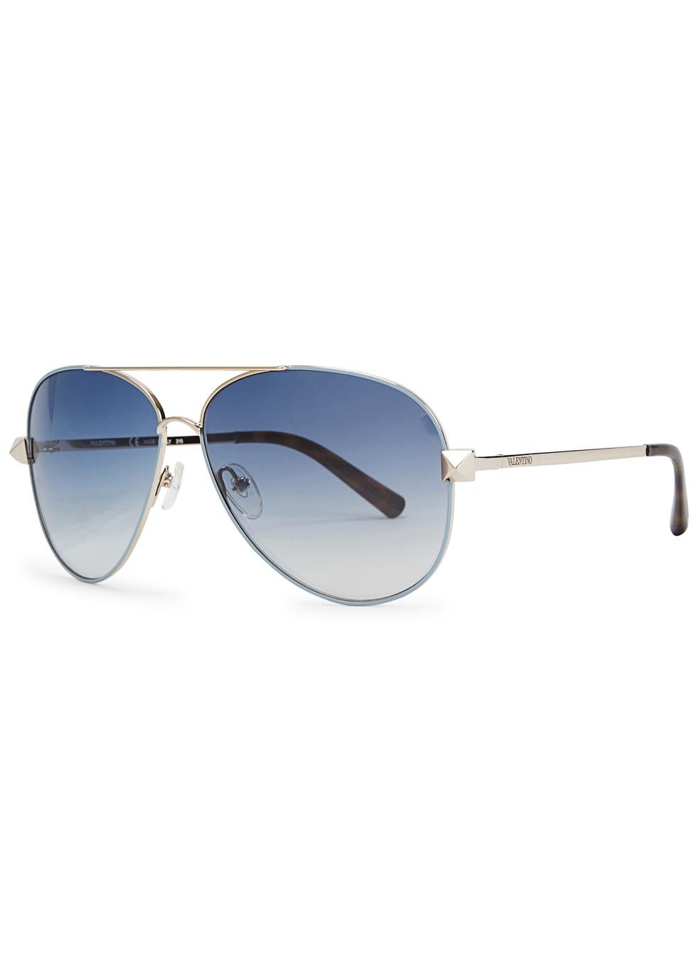 Blue Mirrored Aviator Style Sunglasses - secondary colour: pale blue; predominant colour: silver; occasions: casual, holiday; style: aviator; size: large; material: chain/metal; pattern: plain; finish: metallic; season: a/w 2015; wardrobe: basic