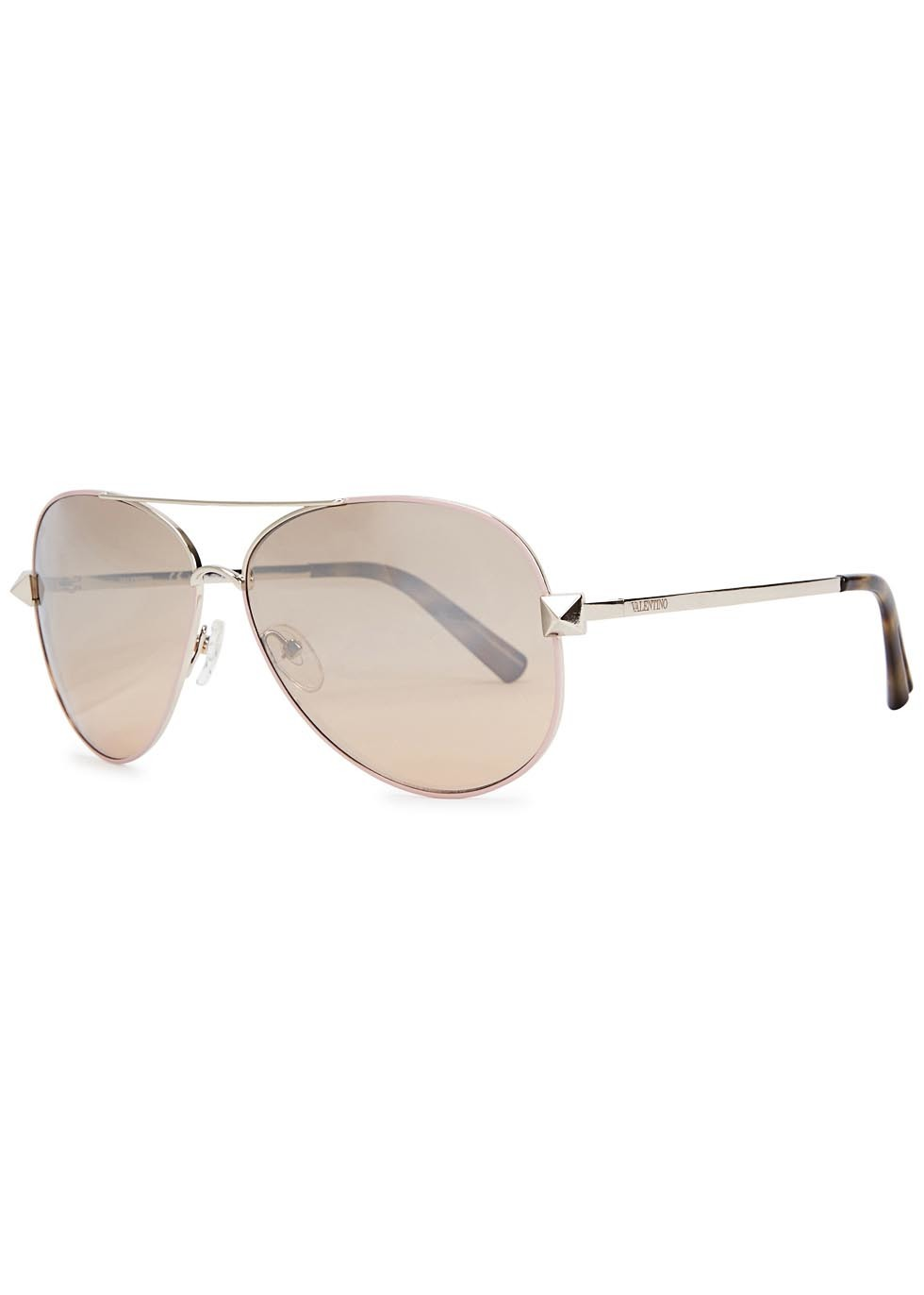 Sand Mirored Aviator Style Sunglasses - predominant colour: gold; occasions: casual, holiday; style: aviator; size: standard; material: chain/metal; pattern: plain; finish: plain; season: a/w 2015; wardrobe: basic