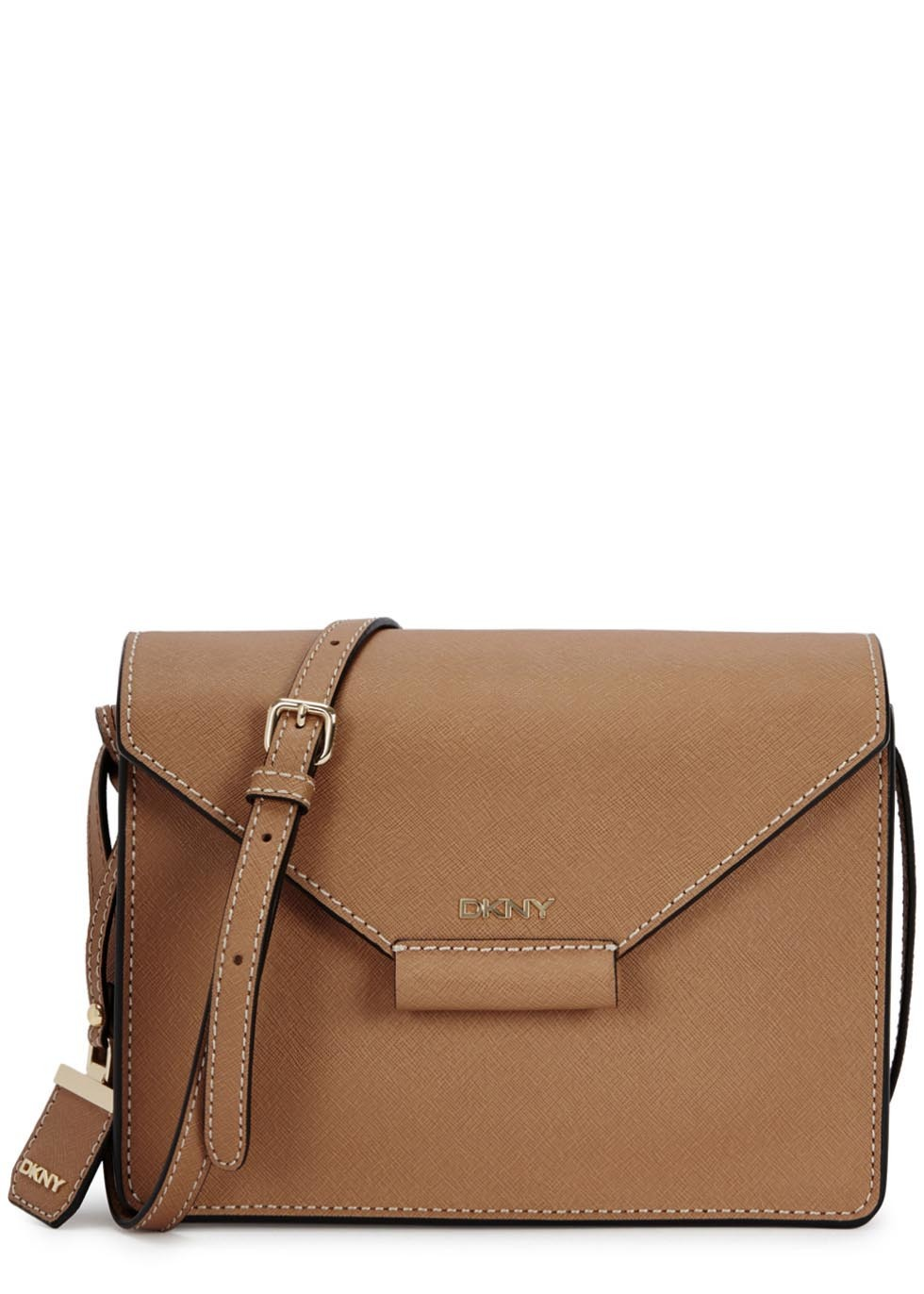 Bryant Park Camel Saffiano Leather Cross Body Bag - predominant colour: camel; occasions: casual; style: messenger; length: across body/long; size: standard; material: leather; pattern: plain; finish: plain; season: a/w 2015