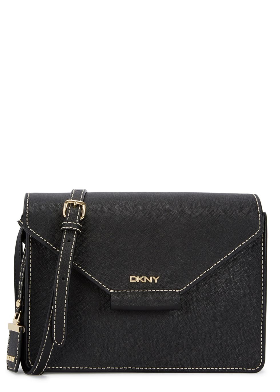 Bryant Park Black Saffiano Leather Cross Body Bag - predominant colour: black; occasions: casual; style: messenger; length: across body/long; size: standard; material: leather; pattern: plain; finish: plain; season: a/w 2015; wardrobe: basic