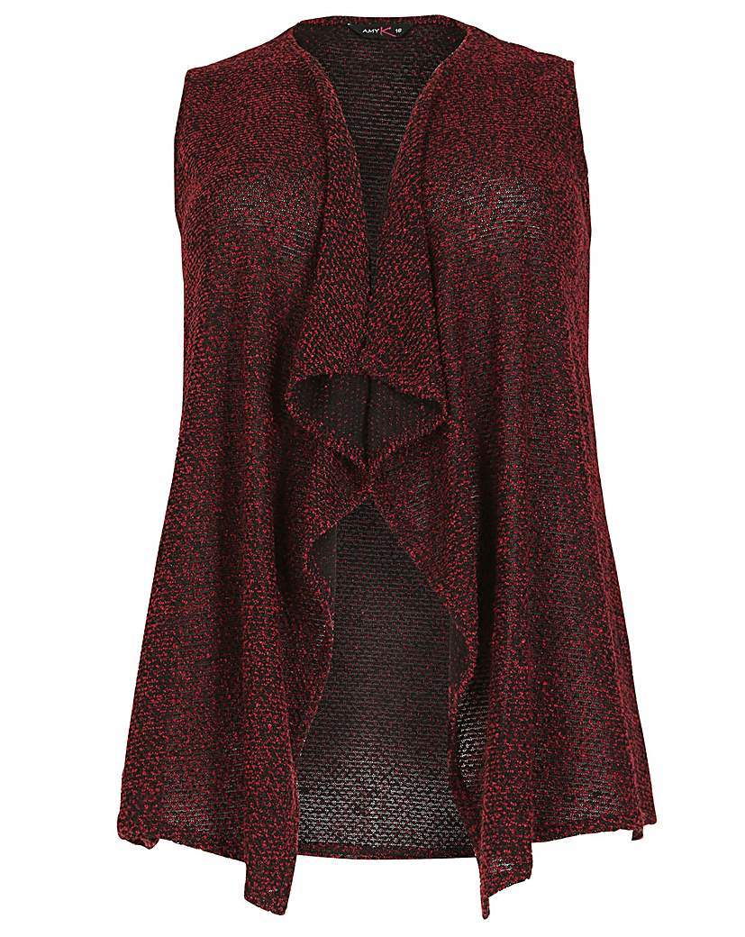 Amy K Waterfall Boucle Waistcoat - pattern: plain; sleeve style: sleeveless; neckline: collarless open; style: open front; predominant colour: burgundy; occasions: casual; length: standard; fibres: polyester/polyamide - 100%; fit: standard fit; sleeve length: sleeveless; texture group: knits/crochet; pattern type: knitted - fine stitch; season: a/w 2015; wardrobe: highlight