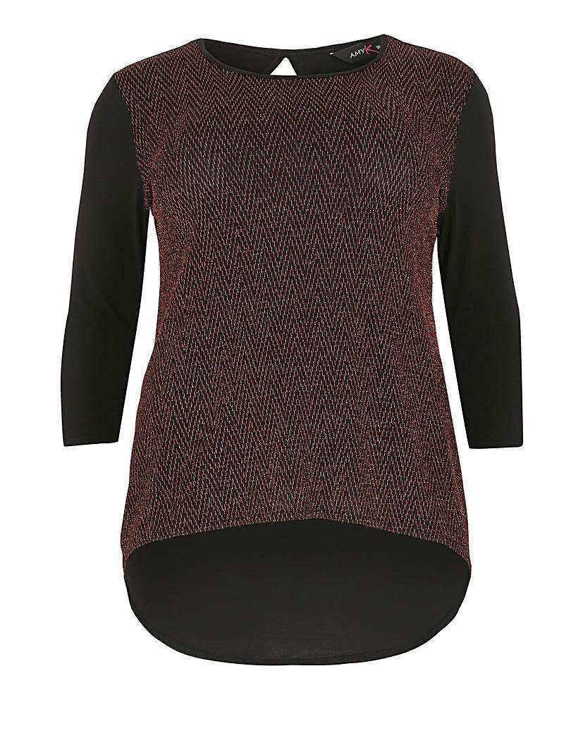 Amy K Glitter Scoop Back Top - neckline: round neck; style: t-shirt; predominant colour: burgundy; secondary colour: black; occasions: casual, creative work; length: standard; fit: body skimming; sleeve length: 3/4 length; sleeve style: standard; pattern type: fabric; pattern size: light/subtle; pattern: colourblock; texture group: jersey - stretchy/drapey; fibres: nylon - stretch; season: a/w 2015