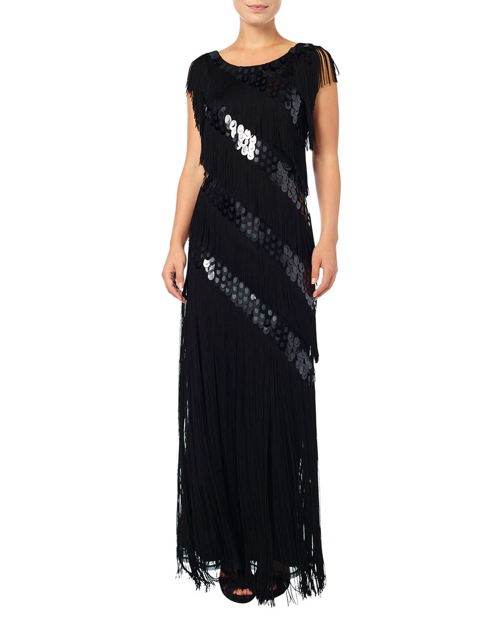Annabeth Fringed Sequin Maxi Dress - neckline: round neck; pattern: plain; sleeve style: sleeveless; style: maxi dress; waist detail: flattering waist detail; predominant colour: black; length: floor length; fit: body skimming; fibres: polyester/polyamide - 100%; occasions: occasion; sleeve length: sleeveless; texture group: sheer fabrics/chiffon/organza etc.; pattern type: fabric; embellishment: fringing; season: a/w 2015; wardrobe: event; embellishment location: all over