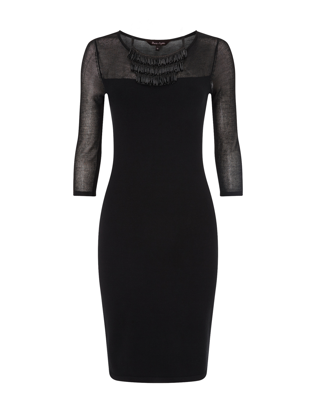 Darlene Necklace Dress - neckline: round neck; fit: tight; pattern: plain; style: bodycon; bust detail: sheer at bust; predominant colour: black; occasions: evening; length: on the knee; fibres: viscose/rayon - stretch; sleeve length: 3/4 length; sleeve style: standard; texture group: jersey - clingy; pattern type: fabric; season: a/w 2015