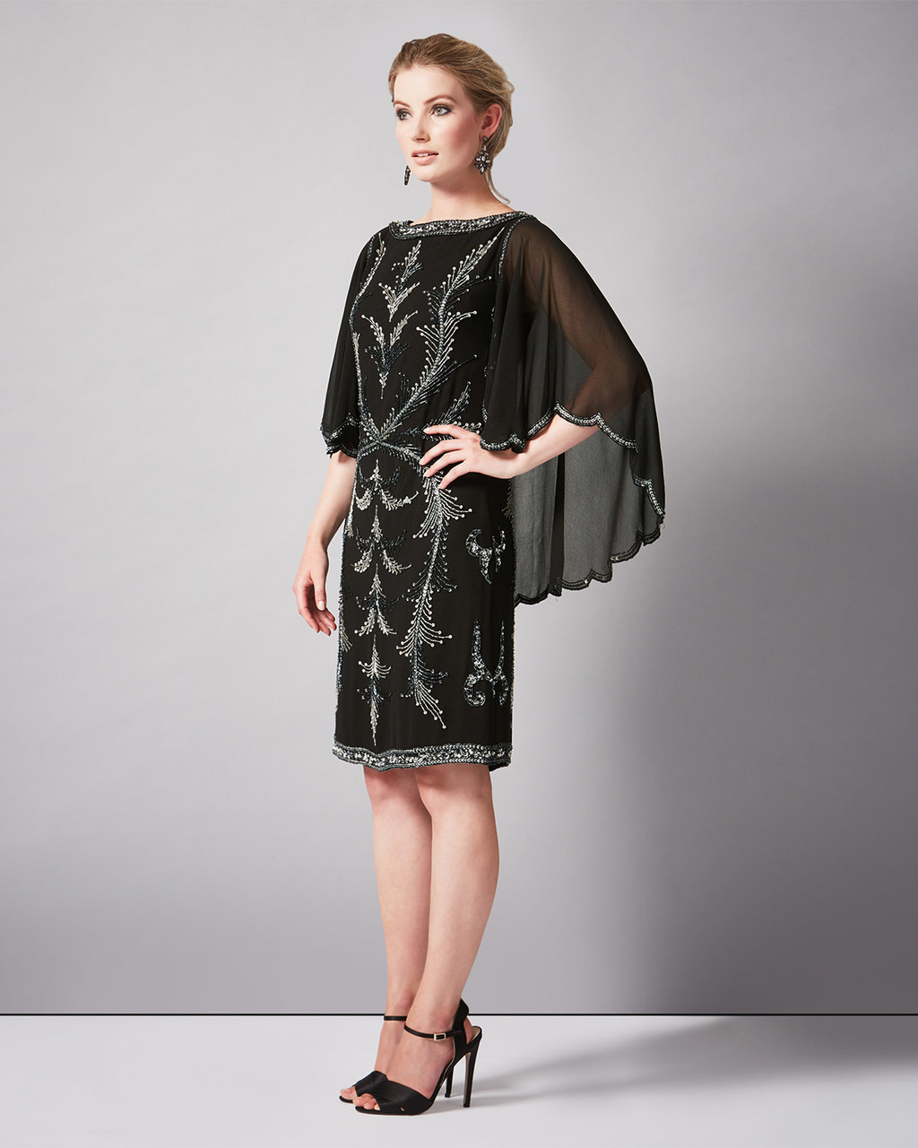Esmerelda Beaded Dress - style: shift; sleeve style: angel/waterfall; secondary colour: silver; predominant colour: black; length: on the knee; fit: body skimming; fibres: polyester/polyamide - 100%; occasions: occasion; neckline: crew; sleeve length: 3/4 length; texture group: sheer fabrics/chiffon/organza etc.; pattern type: fabric; pattern size: standard; pattern: patterned/print; embellishment: beading; multicoloured: multicoloured; season: a/w 2015