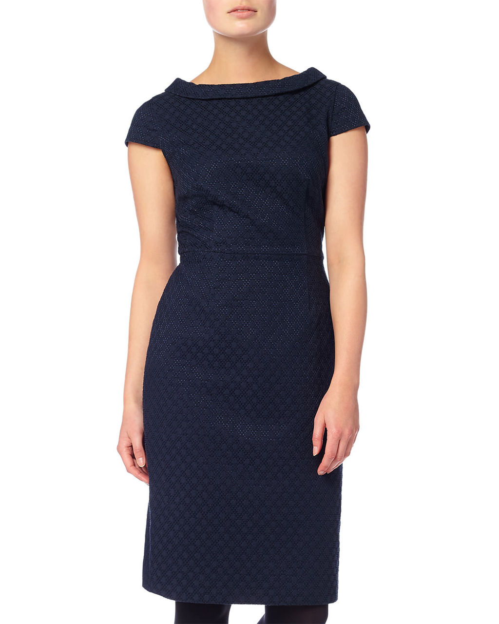 Monroe Textured Dress - style: shift; fit: tailored/fitted; pattern: plain; predominant colour: navy; occasions: evening; length: on the knee; neckline: collarstand; fibres: cotton - stretch; sleeve length: short sleeve; sleeve style: standard; pattern type: fabric; texture group: other - light to midweight; season: a/w 2015; wardrobe: event