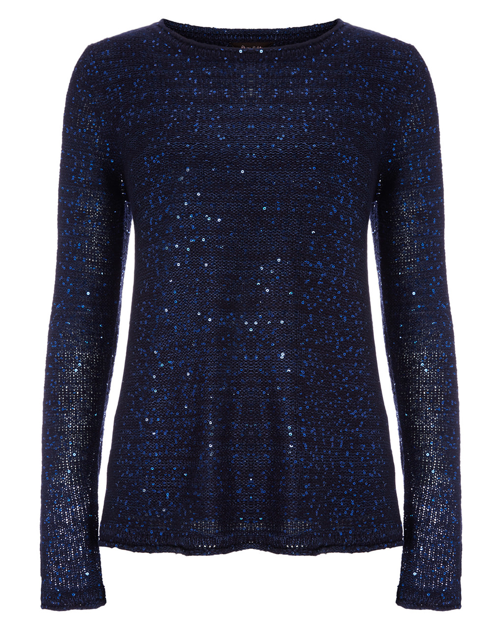 Aisha Sequin Split Back Knit - pattern: plain; style: standard; predominant colour: navy; occasions: casual, creative work; length: standard; fit: standard fit; neckline: crew; sleeve length: long sleeve; sleeve style: standard; texture group: knits/crochet; pattern type: knitted - fine stitch; embellishment: sequins; season: a/w 2015