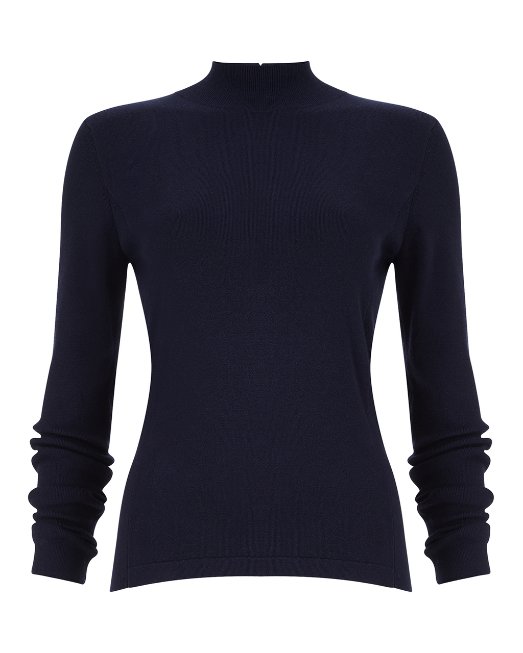 Rita Zip Back Knit - pattern: plain; neckline: high neck; style: standard; predominant colour: navy; occasions: casual, work, creative work; length: standard; fit: slim fit; sleeve length: long sleeve; sleeve style: standard; texture group: knits/crochet; pattern type: knitted - fine stitch; season: a/w 2015; wardrobe: basic