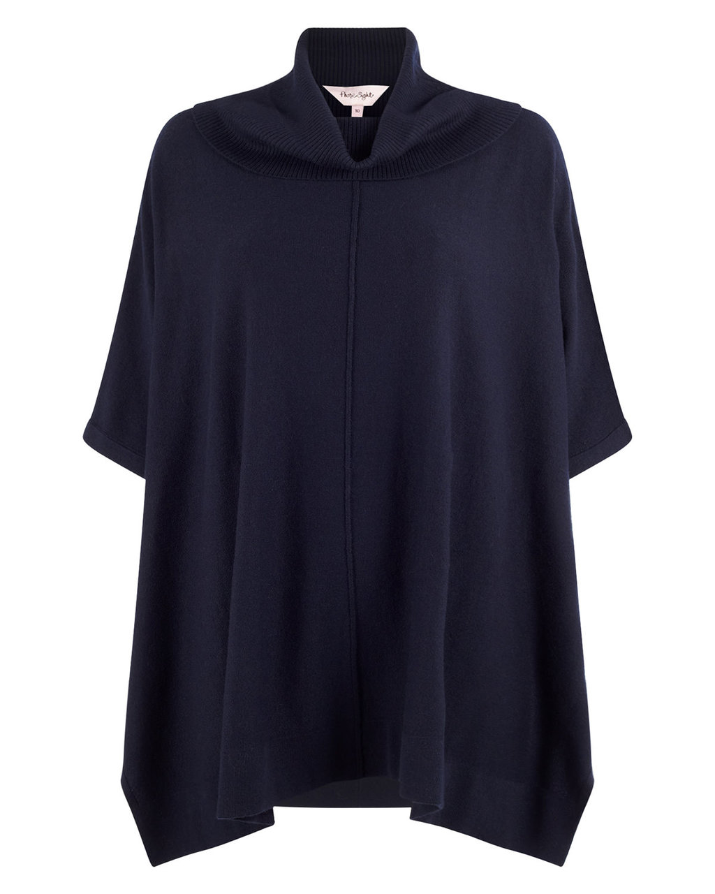 Petula Poncho - sleeve style: dolman/batwing; pattern: plain; length: below the bottom; neckline: roll neck; style: poncho; predominant colour: navy; occasions: casual, creative work; fibres: polyester/polyamide - mix; fit: loose; sleeve length: half sleeve; texture group: knits/crochet; pattern type: knitted - other; season: a/w 2015; wardrobe: highlight
