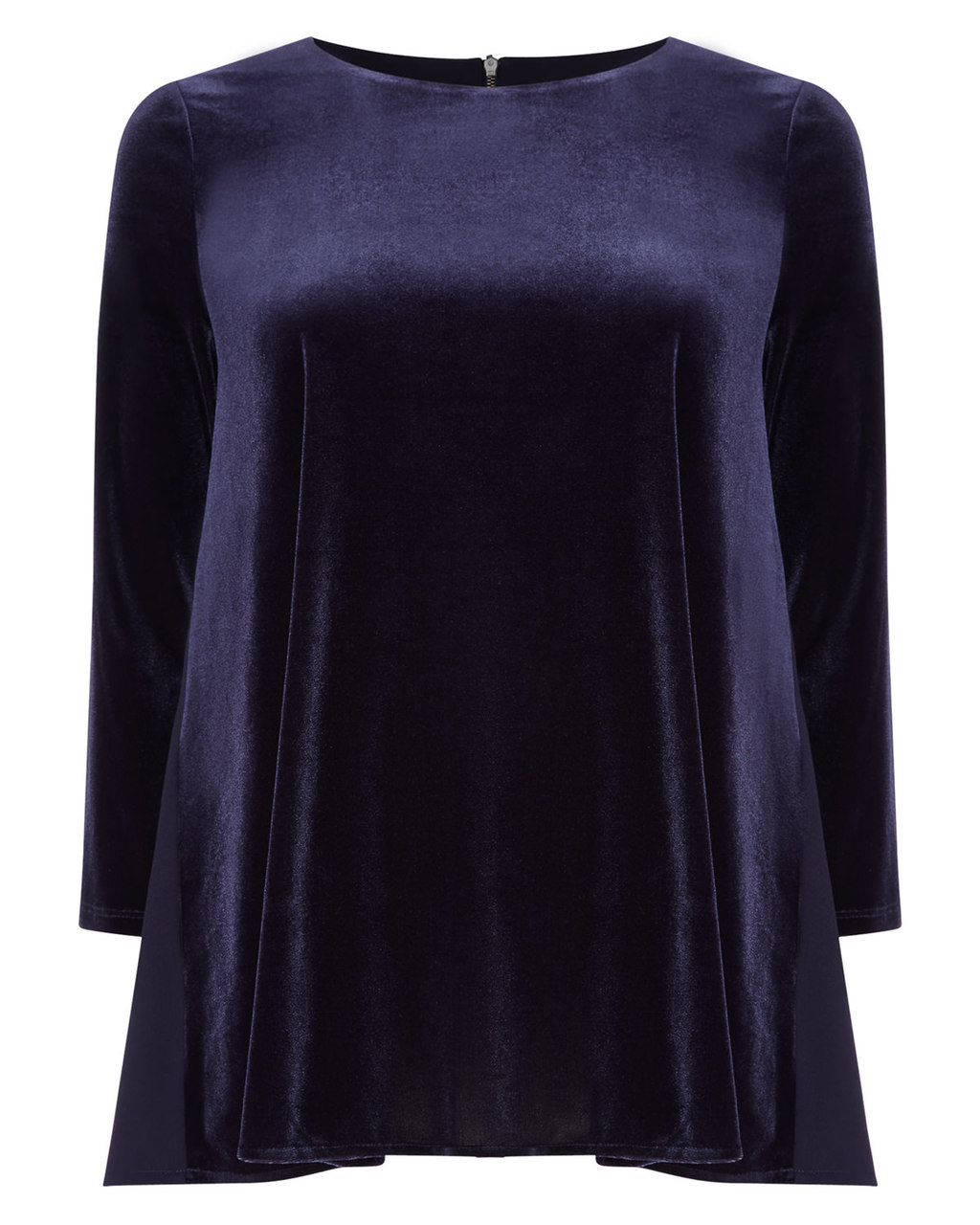 Delia Velvet Blouse - pattern: plain; style: blouse; predominant colour: navy; occasions: casual, evening; length: standard; fibres: polyester/polyamide - stretch; fit: loose; neckline: crew; sleeve length: long sleeve; sleeve style: standard; pattern type: fabric; texture group: velvet/fabrics with pile; season: a/w 2015