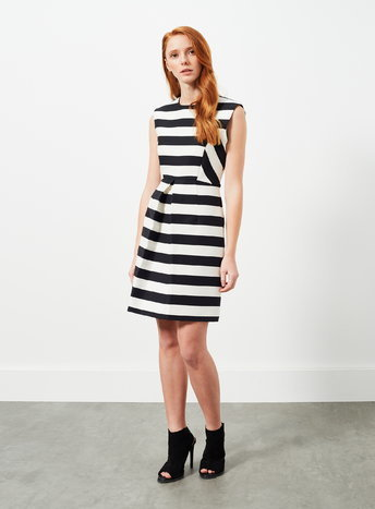 Womens A Line Stripe Pleat Dress, Black - pattern: horizontal stripes; sleeve style: sleeveless; secondary colour: white; predominant colour: black; occasions: evening, occasion; length: just above the knee; fit: fitted at waist & bust; style: fit & flare; fibres: cotton - mix; neckline: crew; sleeve length: sleeveless; pattern type: fabric; pattern size: light/subtle; texture group: woven light midweight; season: a/w 2015; wardrobe: event