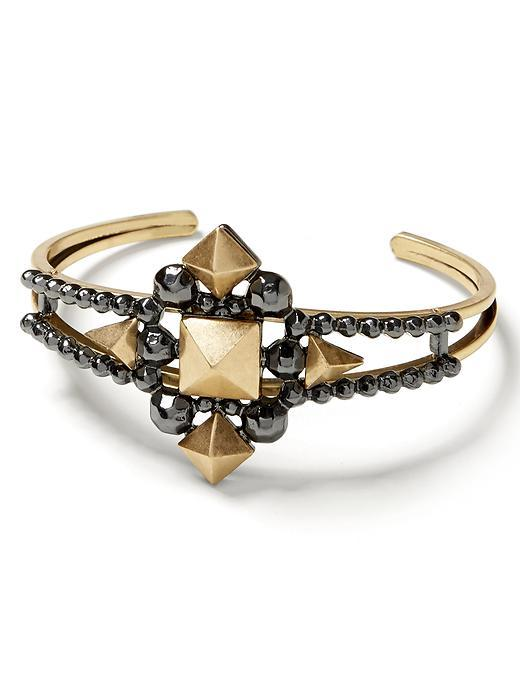 Mixed Metal Pyramid Cuff Mixed Metal - predominant colour: gold; secondary colour: black; occasions: evening; style: cuff; size: large/oversized; material: chain/metal; finish: metallic; embellishment: jewels/stone; season: a/w 2015; wardrobe: event