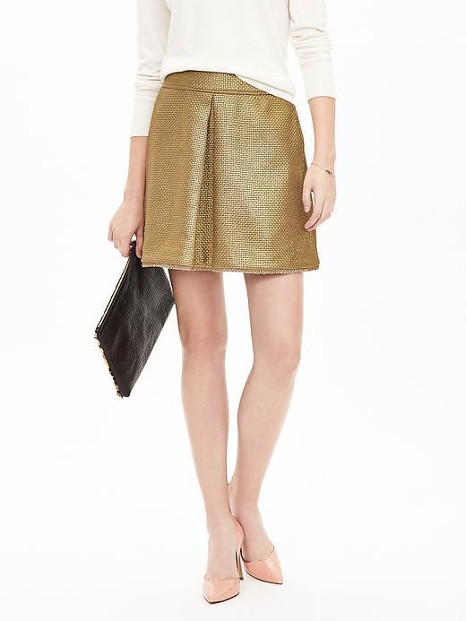 Metallic Inverted Pleat Skirt Gold Leaf - length: mid thigh; pattern: plain; fit: loose/voluminous; waist: high rise; predominant colour: gold; occasions: casual, evening; style: a-line; fibres: polyester/polyamide - mix; hip detail: soft pleats at hip/draping at hip/flared at hip; waist detail: narrow waistband; texture group: leather; pattern type: fabric; season: a/w 2015