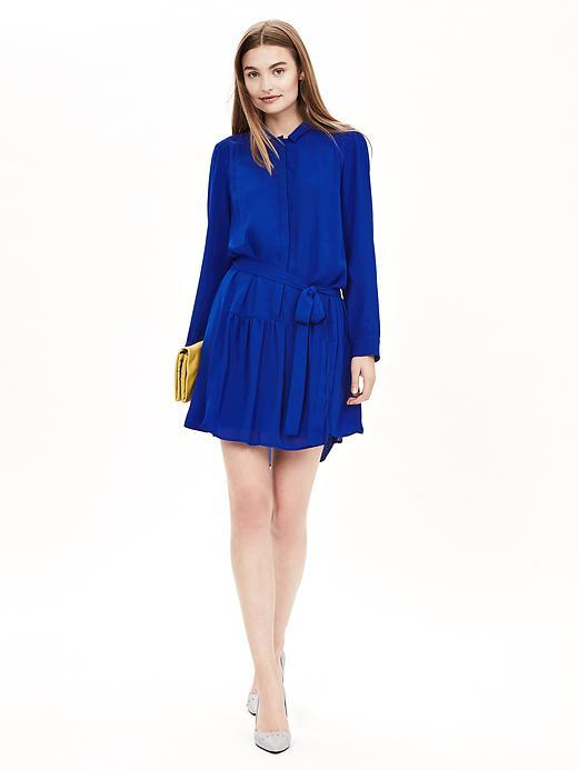 Crepe Shirtdress Dreamy Royal - style: shirt; length: mid thigh; fit: fitted at waist; pattern: plain; predominant colour: royal blue; occasions: evening, creative work; neckline: collarstand; sleeve length: long sleeve; sleeve style: standard; texture group: crepes; pattern type: fabric; season: a/w 2015; wardrobe: highlight