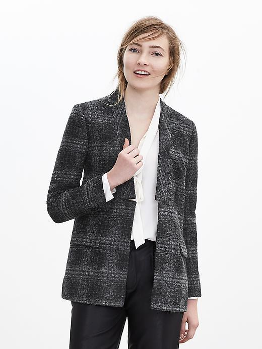 Textured Plaid Blazer Mixed Grey/Smokey Grey - pattern: checked/gingham; style: single breasted blazer; collar: round collar/collarless; length: below the bottom; predominant colour: charcoal; secondary colour: mid grey; occasions: casual, creative work; fit: straight cut (boxy); sleeve length: long sleeve; sleeve style: standard; collar break: low/open; pattern type: fabric; pattern size: light/subtle; texture group: woven bulky/heavy; season: a/w 2015; wardrobe: highlight