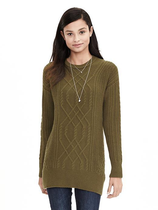 Todd & Duncan Cable Knit Cashmere Tunic Green - neckline: round neck; style: tunic; pattern: cable knit; predominant colour: khaki; occasions: casual, creative work; fit: standard fit; length: mid thigh; fibres: cashmere - 100%; sleeve length: long sleeve; sleeve style: standard; texture group: knits/crochet; pattern type: knitted - fine stitch; pattern size: light/subtle; season: a/w 2015; wardrobe: highlight