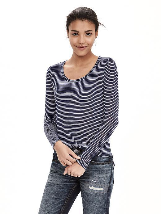Stripe Slubbed Scoop Neck Tee Preppy Navy - neckline: round neck; pattern: plain; style: t-shirt; predominant colour: denim; occasions: casual, creative work; length: standard; fibres: cotton - mix; fit: body skimming; sleeve length: long sleeve; sleeve style: standard; texture group: knits/crochet; pattern type: fabric; season: a/w 2015; wardrobe: highlight