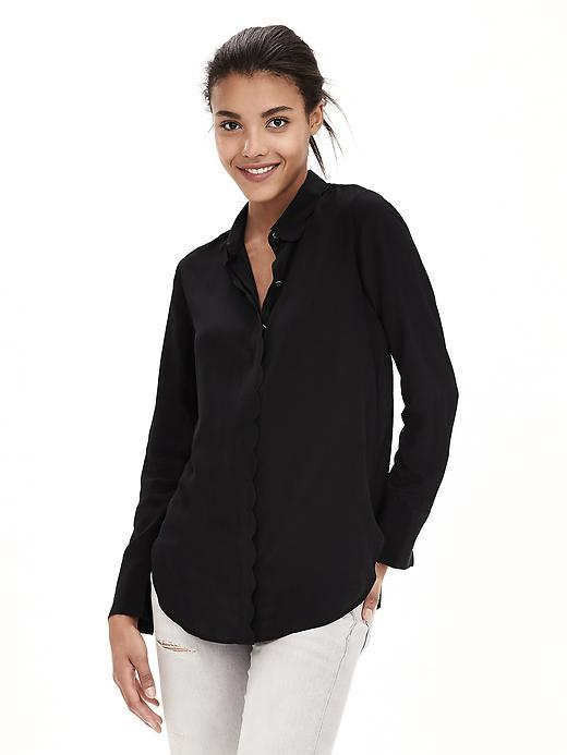 Scalloped Silk Blouse Br Black - neckline: shirt collar/peter pan/zip with opening; pattern: plain; length: below the bottom; style: blouse; predominant colour: black; occasions: casual, creative work; fibres: silk - 100%; fit: straight cut; sleeve length: long sleeve; sleeve style: standard; texture group: lycra/elastane mixes; pattern type: fabric; season: a/w 2015; wardrobe: basic