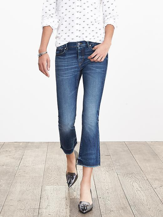 Medium Wash Crop Flare Medium Wash - pattern: plain; waist: high rise; pocket detail: traditional 5 pocket; predominant colour: denim; occasions: casual; length: calf length; texture group: denim; fit: flares; pattern type: fabric; style: standard; season: a/w 2015; wardrobe: highlight