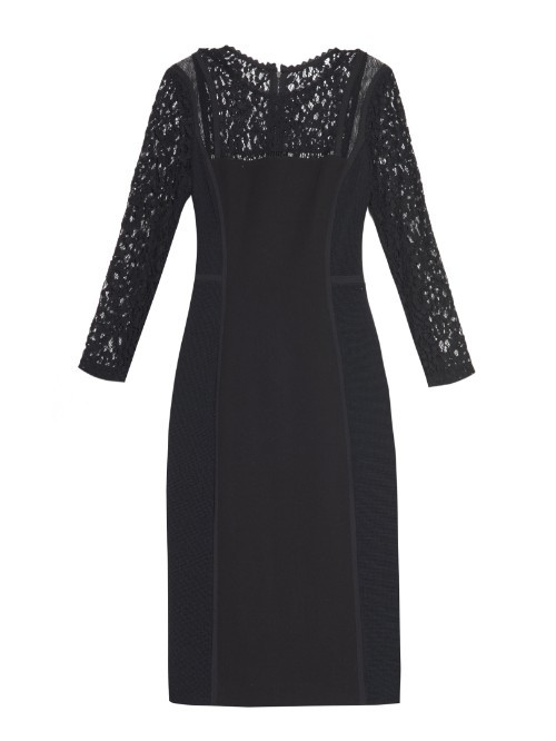 Lace Trimmed Pencil Dress - style: shift; fit: tailored/fitted; pattern: plain; predominant colour: navy; occasions: evening, occasion; length: on the knee; neckline: crew; sleeve length: short sleeve; sleeve style: standard; pattern type: fabric; texture group: jersey - stretchy/drapey; season: a/w 2015; wardrobe: event; embellishment: contrast fabric; embellishment location: shoulder