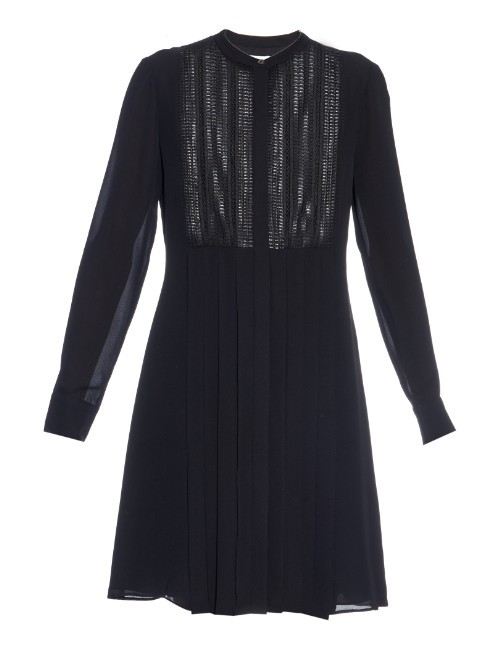 Lattice Lace Bib Pleated Silk Dress - style: tunic; length: mid thigh; pattern: plain; bust detail: subtle bust detail; secondary colour: navy; predominant colour: black; occasions: casual, creative work; fit: soft a-line; neckline: collarstand; fibres: silk - 100%; sleeve length: long sleeve; sleeve style: standard; texture group: sheer fabrics/chiffon/organza etc.; pattern type: fabric; season: a/w 2015; wardrobe: basic