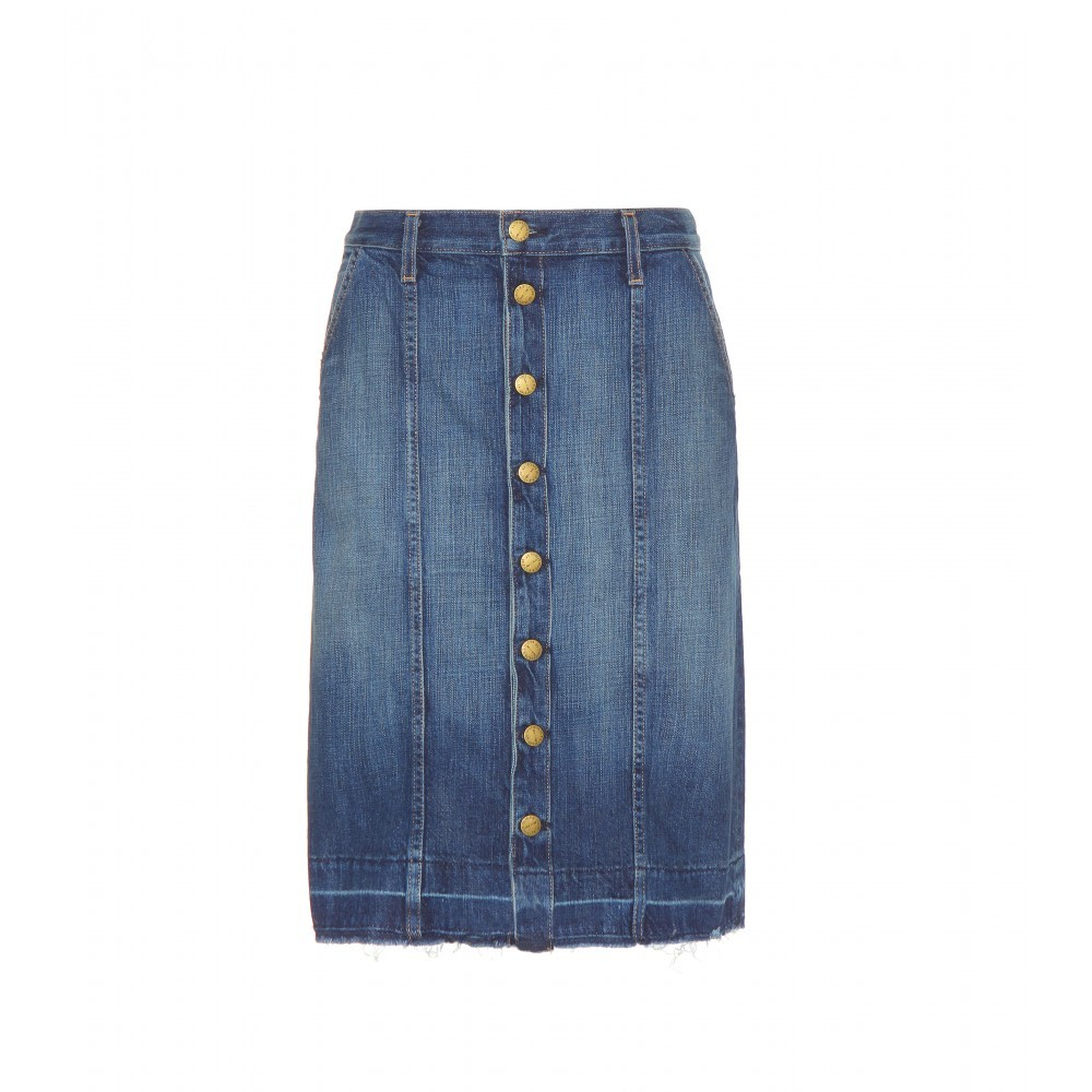 The Short Sally Denim Skirt - pattern: plain; style: pencil; fit: body skimming; waist: mid/regular rise; predominant colour: navy; occasions: casual; length: just above the knee; fibres: cotton - 100%; texture group: denim; pattern type: fabric; season: a/w 2015; wardrobe: basic