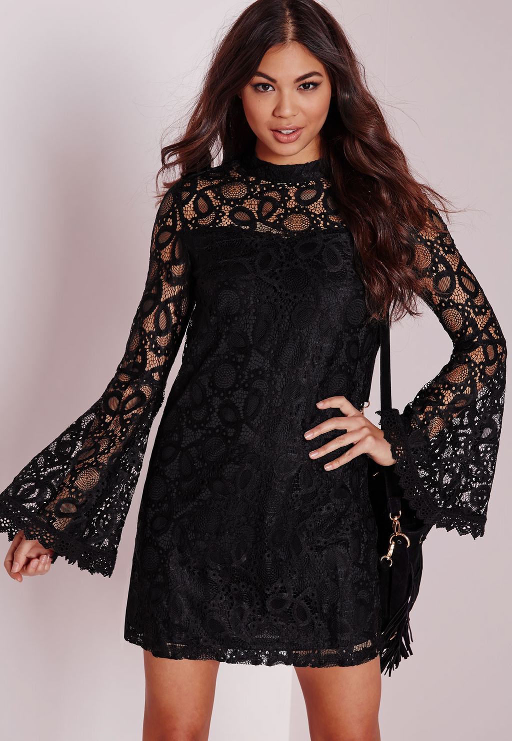 Bell Sleeve Lace Swing Dress Black, Black - style: shift; length: mini; sleeve style: bell sleeve; predominant colour: black; occasions: evening; fit: body skimming; neckline: crew; sleeve length: long sleeve; texture group: lace; pattern type: fabric; pattern size: standard; pattern: patterned/print; season: a/w 2015; wardrobe: event