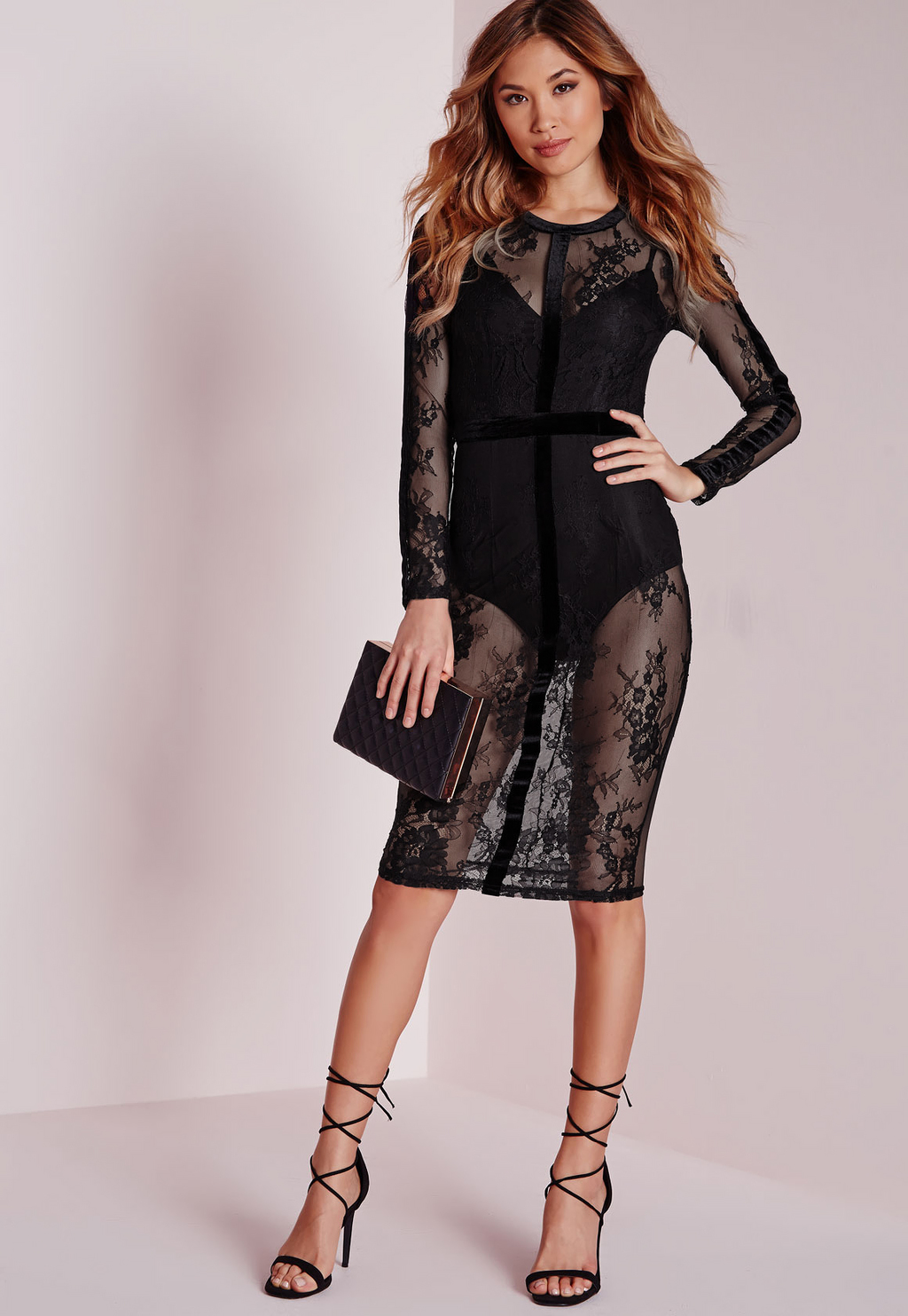 Lace Velvet Binding Midi Dress Black, Black - style: shift; neckline: round neck; bust detail: sheer at bust; predominant colour: black; occasions: evening; length: on the knee; fit: body skimming; fibres: polyester/polyamide - stretch; back detail: sheer fabric at back; sleeve length: long sleeve; sleeve style: standard; texture group: lace; pattern type: fabric; pattern size: standard; pattern: patterned/print; season: a/w 2015; wardrobe: event
