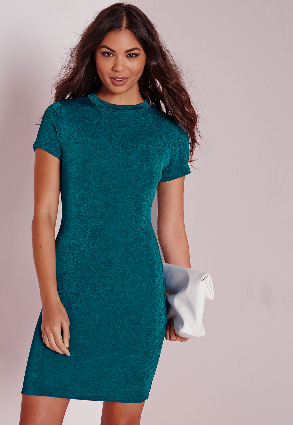 Cap Sleeve Knitted Bodycon Dress Teal, Blue - length: mid thigh; fit: tight; pattern: plain; style: bodycon; predominant colour: teal; occasions: evening; fibres: polyester/polyamide - stretch; neckline: crew; sleeve length: short sleeve; sleeve style: standard; texture group: jersey - clingy; pattern type: fabric; season: a/w 2015
