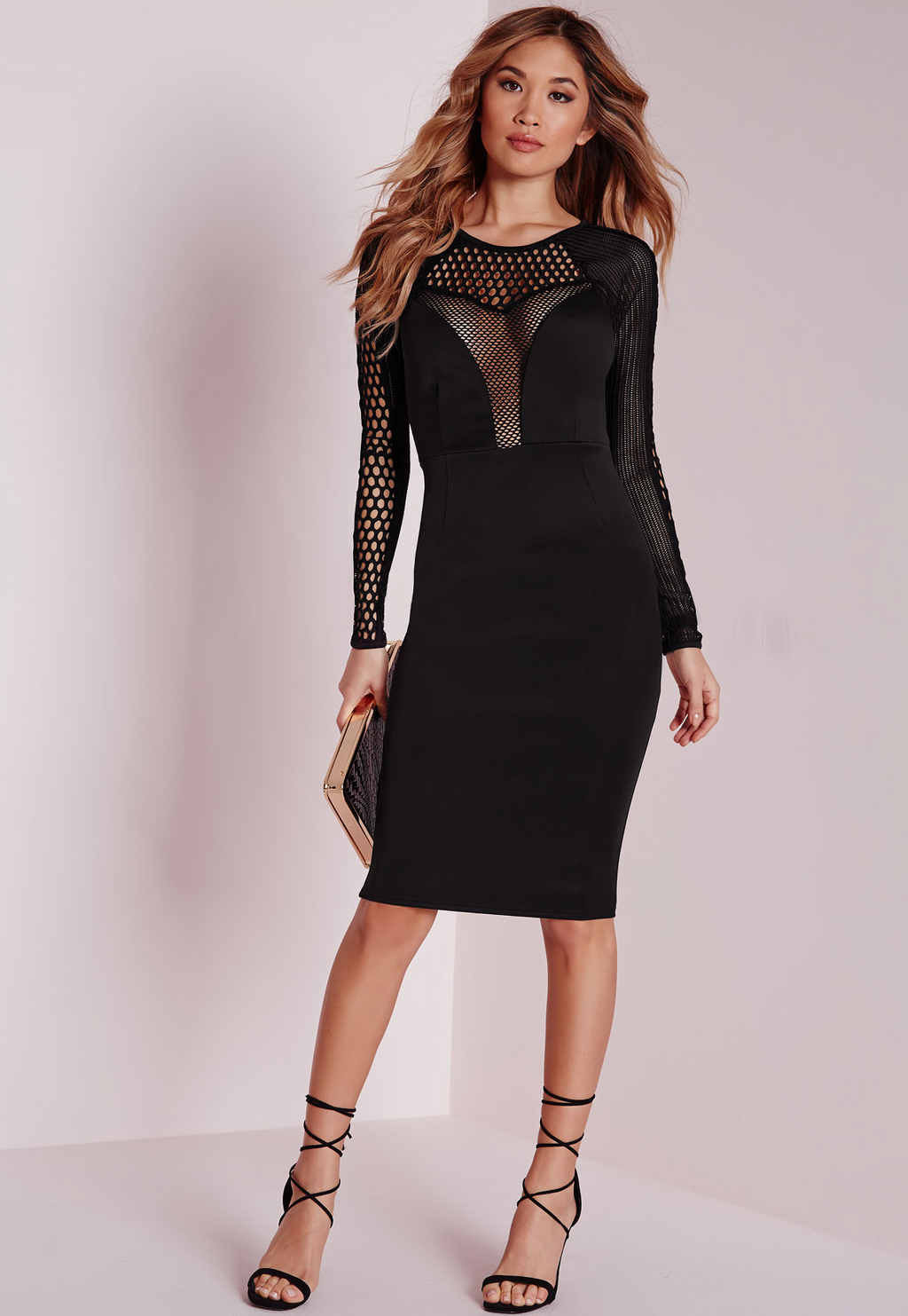 Mesh Insert Long Sleeve Midi Dress Black, Black - length: below the knee; neckline: round neck; fit: tight; pattern: plain; style: bodycon; bust detail: sheer at bust; predominant colour: black; occasions: evening; fibres: polyester/polyamide - stretch; sleeve length: long sleeve; sleeve style: standard; texture group: jersey - clingy; pattern type: fabric; season: a/w 2015; wardrobe: event
