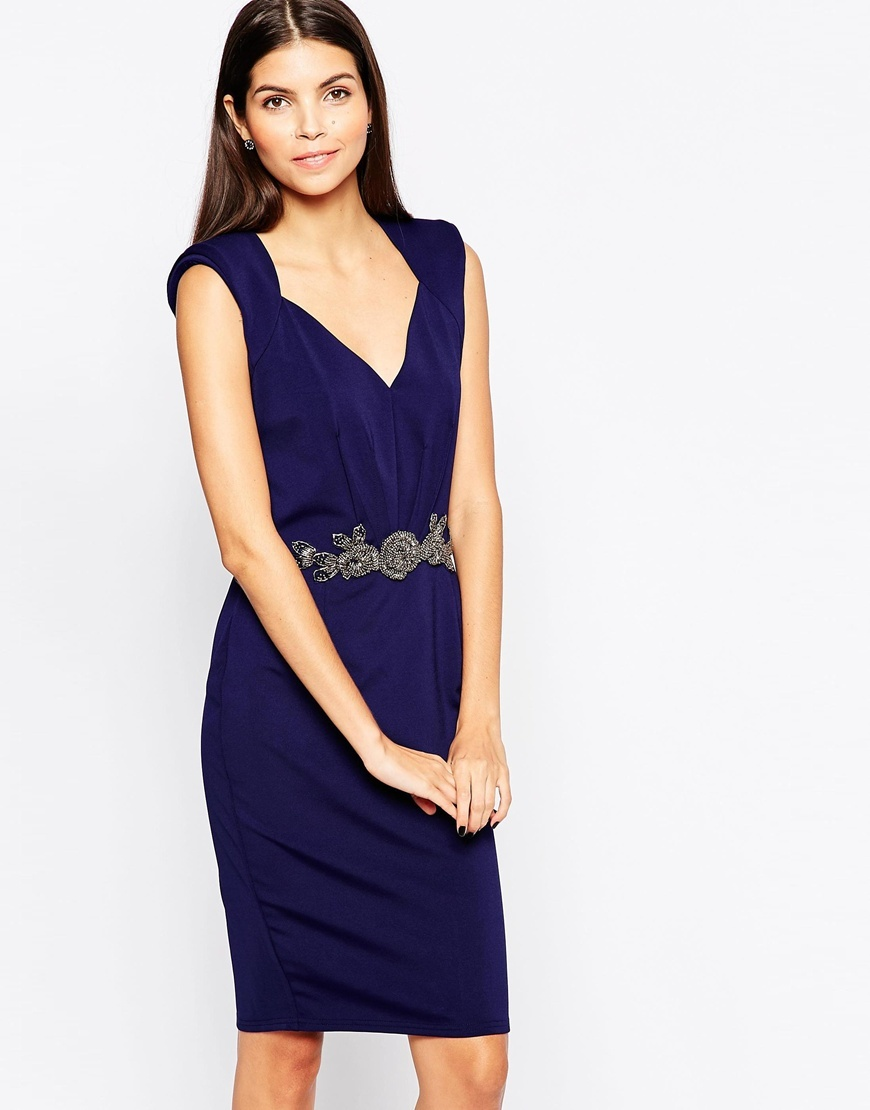 Bodycon Midi Dress With Embellished Waistband V Neck Navy - style: shift; neckline: low v-neck; sleeve style: sleeveless; predominant colour: royal blue; occasions: evening; length: just above the knee; sleeve length: sleeveless; season: a/w 2015