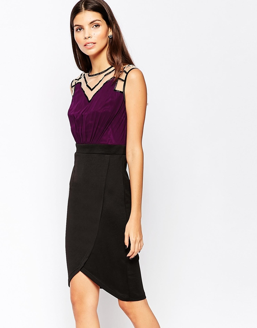Bodycon Pencil Dress With Neckline And Shoulder Detail Plum - fit: tight; pattern: plain; sleeve style: sleeveless; style: bodycon; bust detail: sheer at bust; predominant colour: aubergine; secondary colour: black; occasions: evening; length: on the knee; fibres: polyester/polyamide - stretch; neckline: crew; sleeve length: sleeveless; texture group: jersey - clingy; pattern type: fabric; multicoloured: multicoloured; season: a/w 2015; wardrobe: event