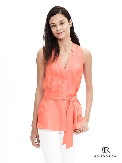 Br Monogram Neon Coral Volt - neckline: v-neck; pattern: plain; sleeve style: sleeveless; predominant colour: coral; occasions: evening; length: standard; style: top; fibres: silk - 100%; fit: tailored/fitted; sleeve length: sleeveless; texture group: silky - light; pattern type: fabric; season: a/w 2015; wardrobe: event
