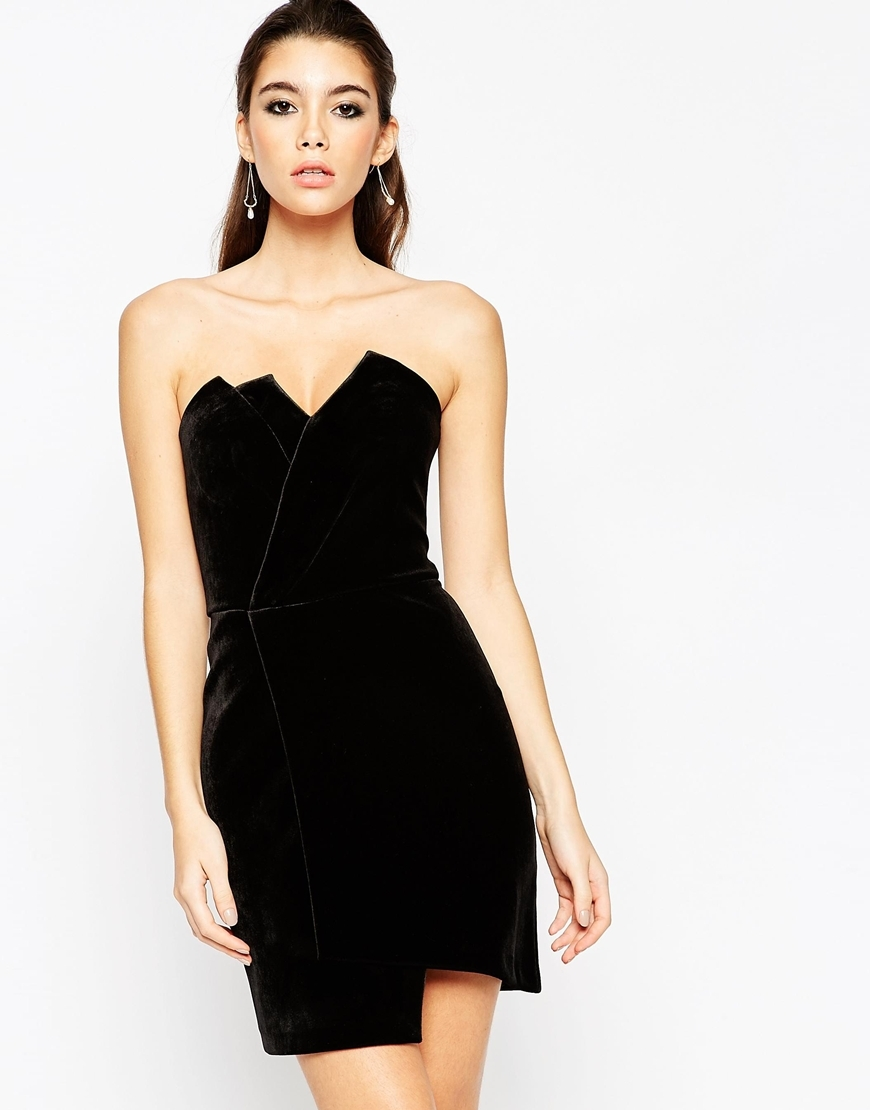 Night Velvet Asymmetric Bandeau Mini Dress Black - length: mid thigh; neckline: strapless (straight/sweetheart); fit: tailored/fitted; pattern: plain; sleeve style: sleeveless; predominant colour: black; occasions: evening; style: asymmetric (hem); fibres: polyester/polyamide - 100%; sleeve length: sleeveless; trends: monochrome, romantic goth; pattern type: fabric; texture group: velvet/fabrics with pile; season: a/w 2015; wardrobe: event
