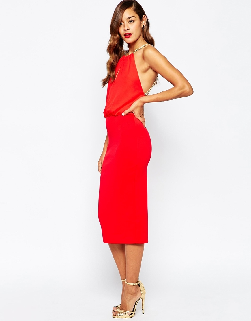 Multi Chain Back Soft Midi Pencil Dress Red - length: below the knee; fit: tight; pattern: plain; sleeve style: sleeveless; style: bodycon; predominant colour: true red; occasions: evening; fibres: polyester/polyamide - 100%; neckline: crew; sleeve length: sleeveless; texture group: jersey - clingy; pattern type: fabric; season: a/w 2015; wardrobe: event