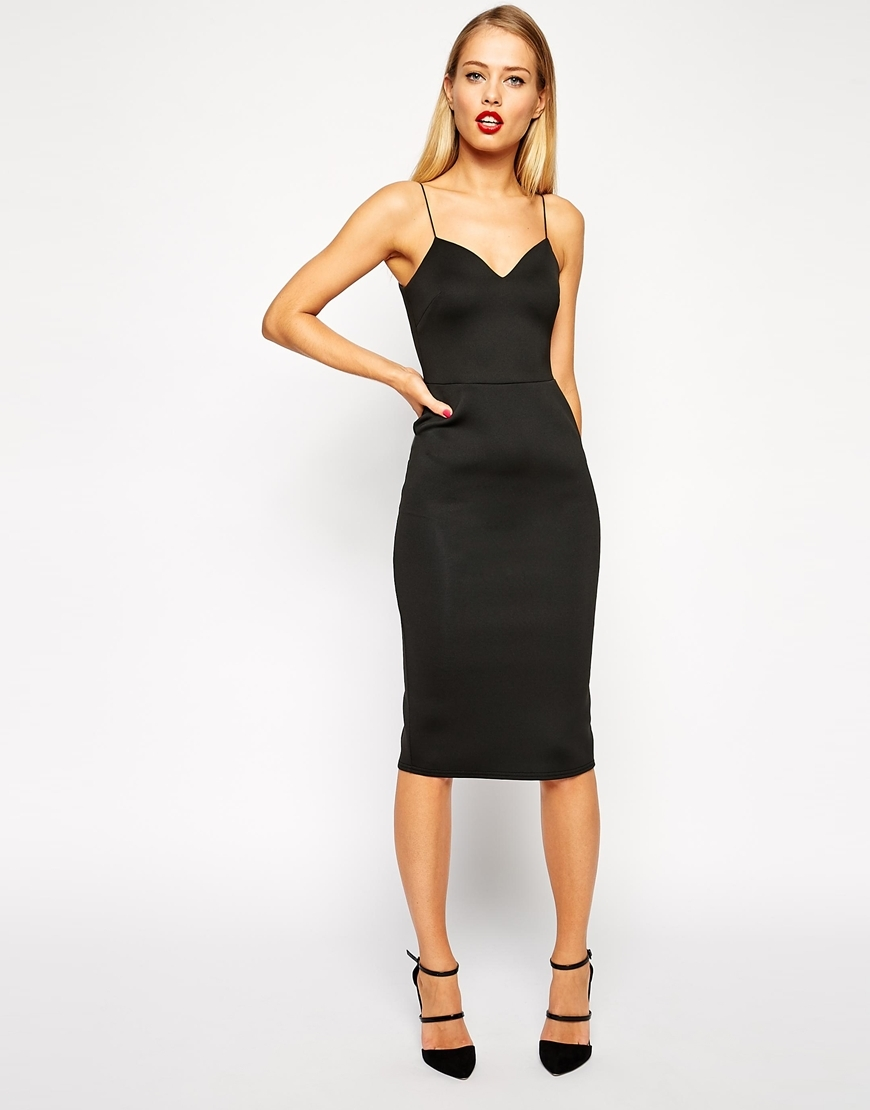 Scuba Deep Plunge Midi Bodycon Dress Red - length: below the knee; neckline: low v-neck; sleeve style: spaghetti straps; fit: tight; pattern: plain; style: bodycon; predominant colour: black; occasions: evening; fibres: polyester/polyamide - stretch; sleeve length: sleeveless; texture group: jersey - clingy; pattern type: fabric; season: a/w 2015