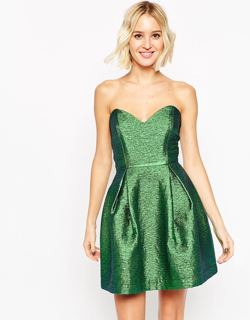 Metallic Bandeau Mini Dress Green - length: mini; neckline: strapless (straight/sweetheart); pattern: plain; style: prom dress; sleeve style: strapless; predominant colour: emerald green; occasions: evening, occasion; fit: fitted at waist & bust; fibres: polyester/polyamide - mix; sleeve length: sleeveless; pattern type: fabric; texture group: brocade/jacquard; season: a/w 2015