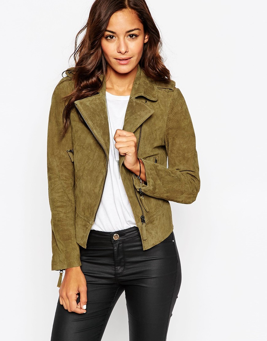 Suede Biker Jacket In Oil Wash Washed Khaki - pattern: plain; style: biker; collar: asymmetric biker; predominant colour: khaki; occasions: casual; length: standard; fit: tailored/fitted; sleeve length: long sleeve; sleeve style: standard; collar break: high; pattern type: fabric; texture group: suede; season: a/w 2015; wardrobe: basic