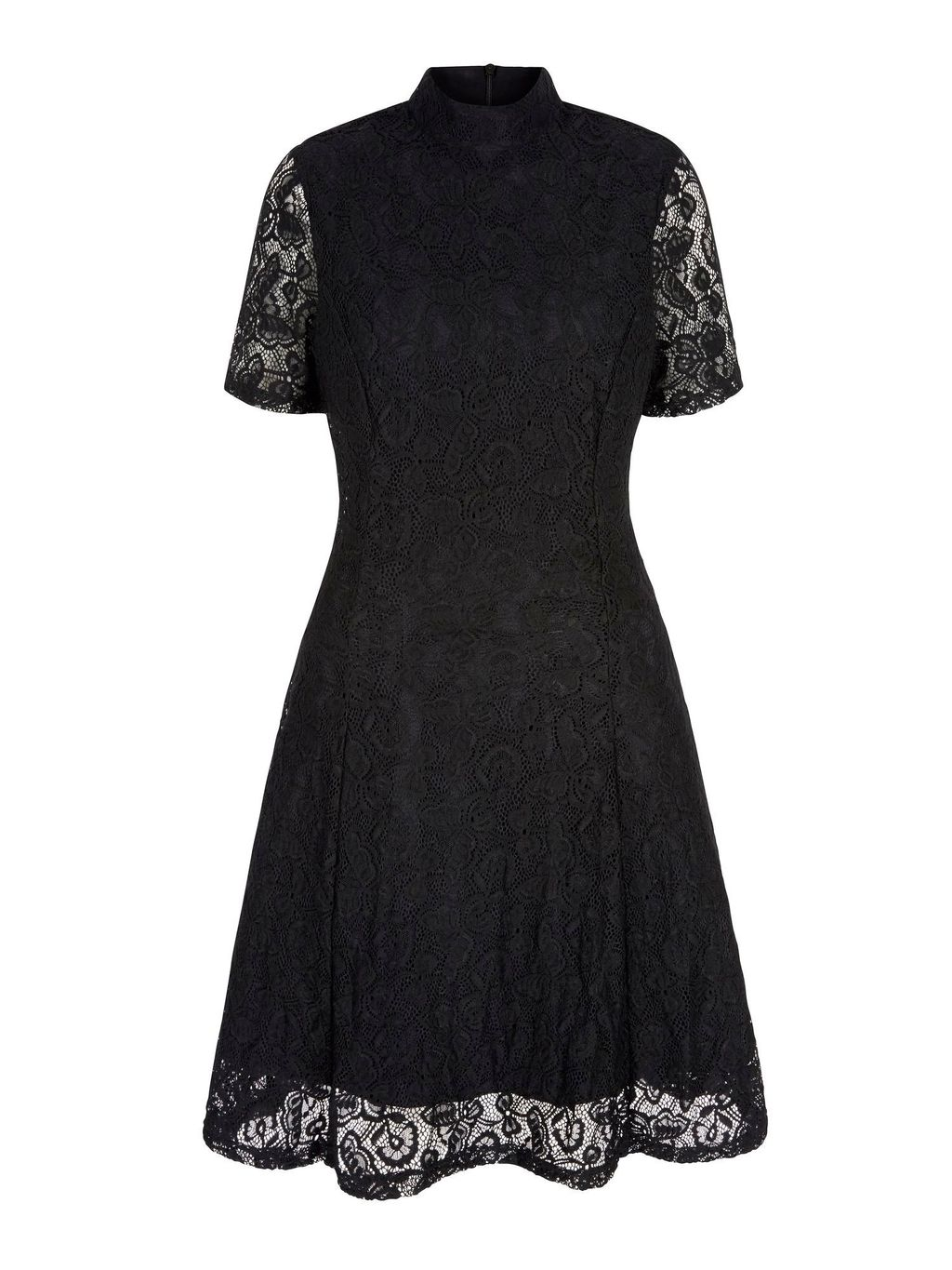 Floral Print Lace High Neck Dress, Black - pattern: plain; neckline: high neck; predominant colour: black; occasions: evening; length: on the knee; fit: fitted at waist & bust; style: fit & flare; fibres: polyester/polyamide - stretch; sleeve length: short sleeve; sleeve style: standard; texture group: lace; pattern type: fabric; season: a/w 2015