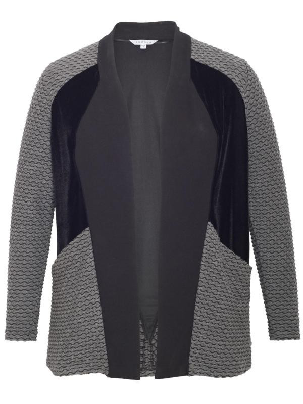 Black/Charcoal Mini Wavy Line & Velvet Trim Jersey Shrug - pattern: plain; neckline: shawl; style: open front; predominant colour: mid grey; secondary colour: black; occasions: casual, creative work; length: standard; fibres: cotton - mix; fit: standard fit; sleeve length: 3/4 length; sleeve style: standard; pattern type: fabric; texture group: jersey - stretchy/drapey; season: a/w 2015; wardrobe: highlight