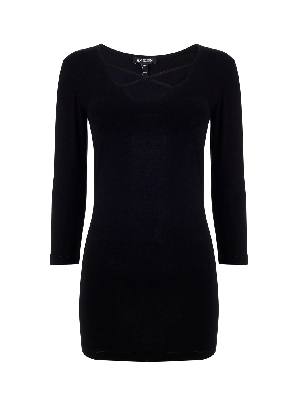 Womenswear Revesby Top - neckline: round neck; pattern: plain; length: below the bottom; style: t-shirt; predominant colour: black; occasions: casual, creative work; fibres: cotton - stretch; fit: body skimming; sleeve length: 3/4 length; sleeve style: standard; texture group: jersey - clingy; pattern type: fabric; season: a/w 2015; wardrobe: basic