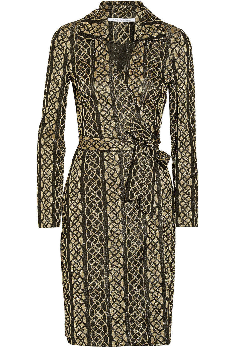 Dolores Metallic Knitted Wrap Dress Black - style: shift; neckline: low v-neck; waist detail: belted waist/tie at waist/drawstring; predominant colour: gold; secondary colour: black; occasions: evening; length: on the knee; fit: body skimming; sleeve length: long sleeve; sleeve style: standard; pattern type: knitted - other; pattern size: standard; pattern: patterned/print; texture group: jersey - stretchy/drapey; embellishment: glitter; season: a/w 2015; wardrobe: event