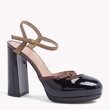Buckle Pump - predominant colour: navy; secondary colour: tan; material: leather; ankle detail: ankle strap; heel: block; toe: round toe; style: courts; finish: patent; pattern: colourblock; heel height: very high; occasions: creative work; shoe detail: platform; season: a/w 2015; wardrobe: highlight