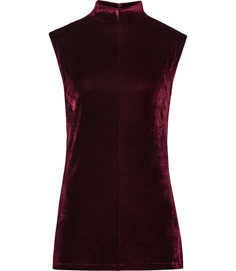 Flora Velvet High Neck Top - sleeve style: capped; pattern: plain; neckline: high neck; predominant colour: burgundy; occasions: evening; length: standard; style: top; fit: body skimming; sleeve length: short sleeve; pattern type: fabric; texture group: velvet/fabrics with pile; season: a/w 2015