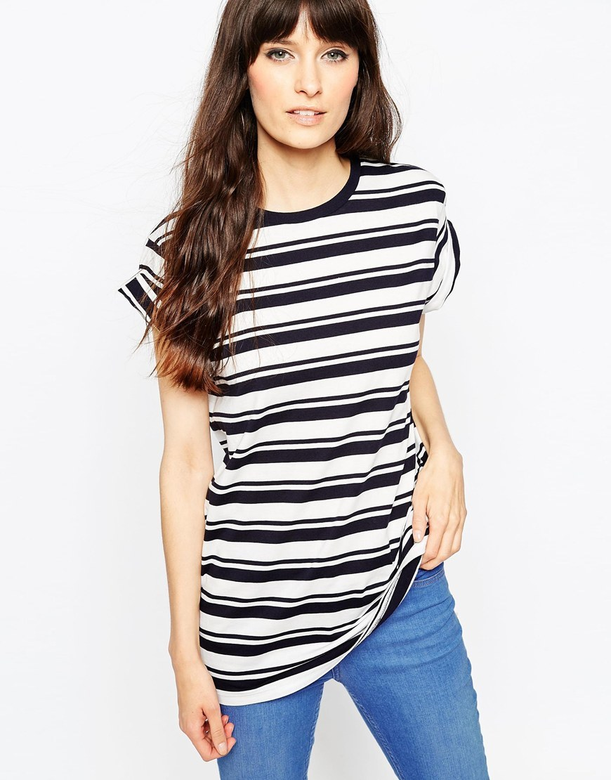 The Easy T Shirt In Stripe White/Navy - sleeve style: capped; pattern: horizontal stripes; style: t-shirt; predominant colour: white; secondary colour: black; occasions: casual; length: standard; fibres: cotton - stretch; fit: body skimming; neckline: crew; sleeve length: short sleeve; pattern type: fabric; pattern size: standard; texture group: jersey - stretchy/drapey; season: a/w 2015