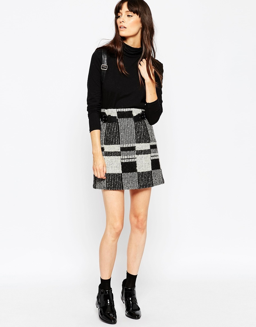 Mini Skirt In Wool Mix Check With Buckle Detail White/Black - length: mini; style: straight; fit: straight cut; texture group: woven light midweight; season: a/w 2015; wardrobe: highlight