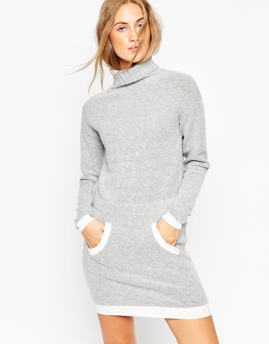 Dress In Knit With Front Pocket And Contrast Trims Grey/Cream - style: jumper dress; length: mid thigh; pattern: plain; neckline: roll neck; predominant colour: light grey; occasions: casual; fit: body skimming; fibres: acrylic - mix; sleeve length: long sleeve; sleeve style: standard; texture group: knits/crochet; pattern type: fabric; season: a/w 2015; wardrobe: basic