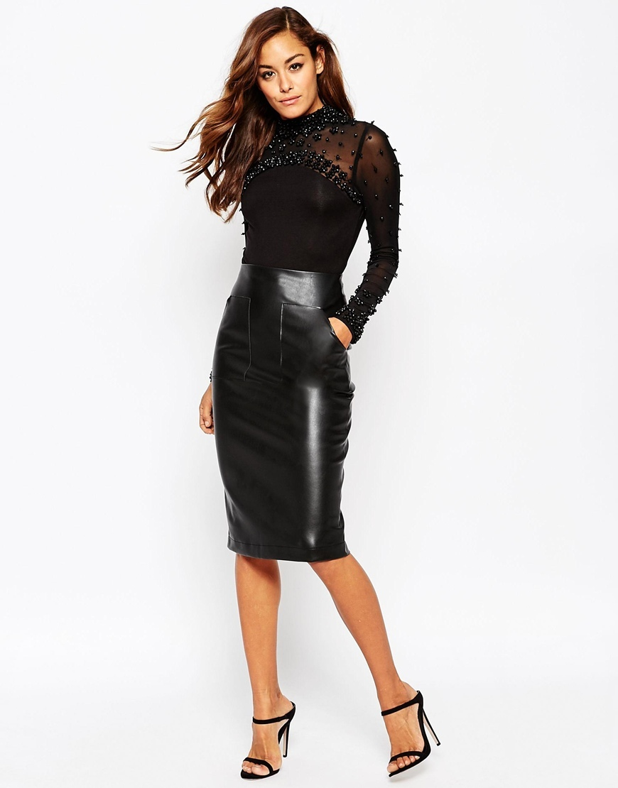 Pu Pencil Skirt With Pocket Detail Black - pattern: plain; style: pencil; fit: tight; waist: high rise; predominant colour: black; occasions: evening; length: on the knee; fibres: polyester/polyamide - 100%; texture group: leather; pattern type: fabric; season: a/w 2015; wardrobe: event