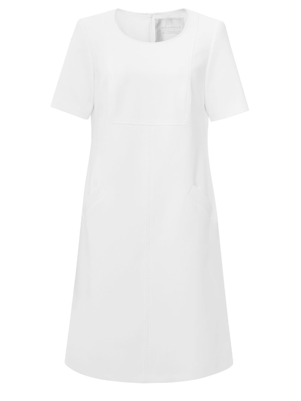 Henley Ivory Dress - style: shift; neckline: round neck; pattern: plain; predominant colour: white; occasions: casual, occasion, creative work; length: just above the knee; fit: soft a-line; fibres: polyester/polyamide - stretch; sleeve length: short sleeve; sleeve style: standard; pattern type: fabric; texture group: other - light to midweight; season: a/w 2015