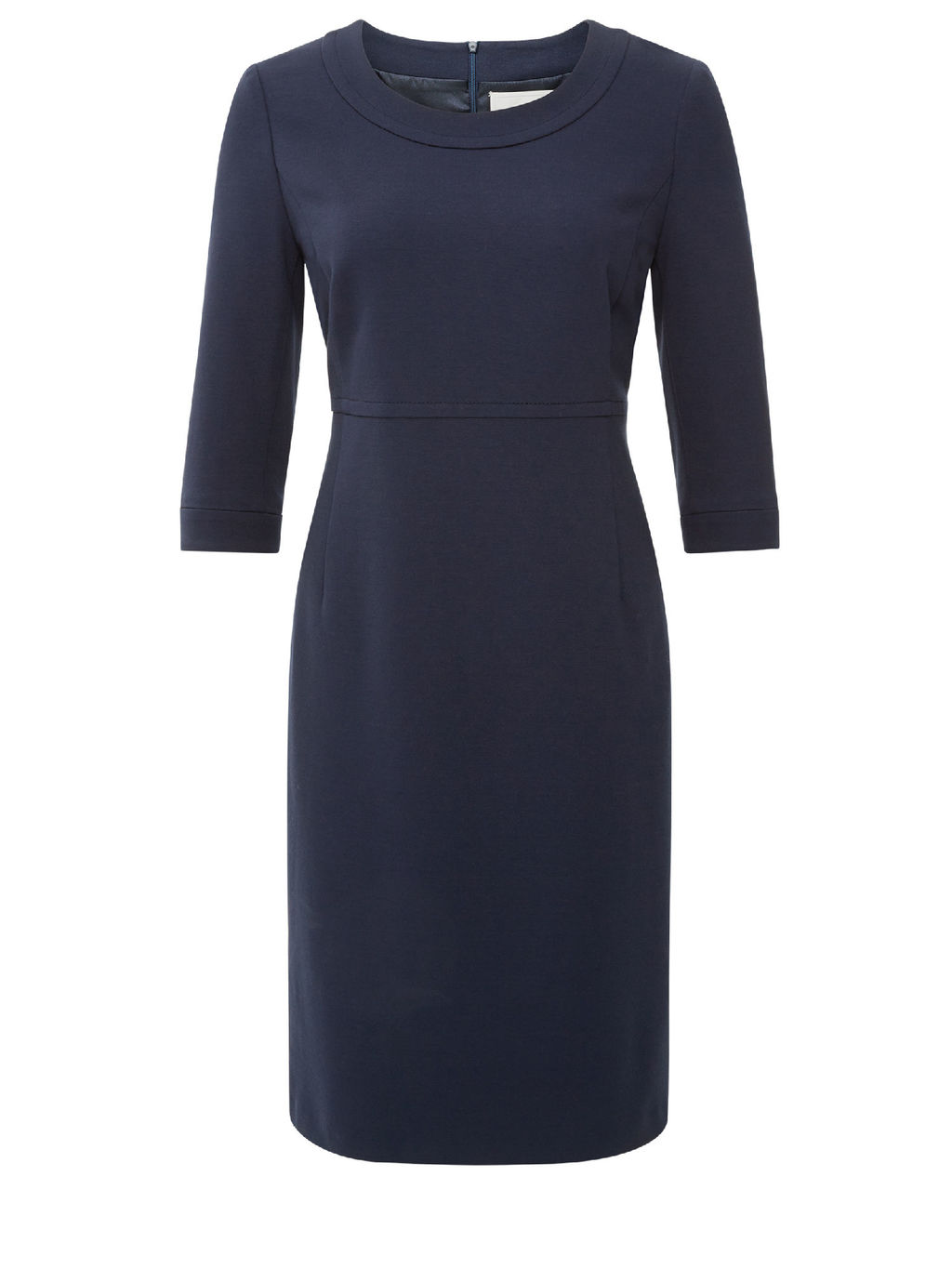 Kensington Navy Dress - style: shift; neckline: round neck; fit: tailored/fitted; pattern: plain; predominant colour: navy; occasions: work, creative work; length: on the knee; fibres: polyester/polyamide - stretch; sleeve length: 3/4 length; sleeve style: standard; pattern type: fabric; texture group: jersey - stretchy/drapey; season: a/w 2015; wardrobe: investment